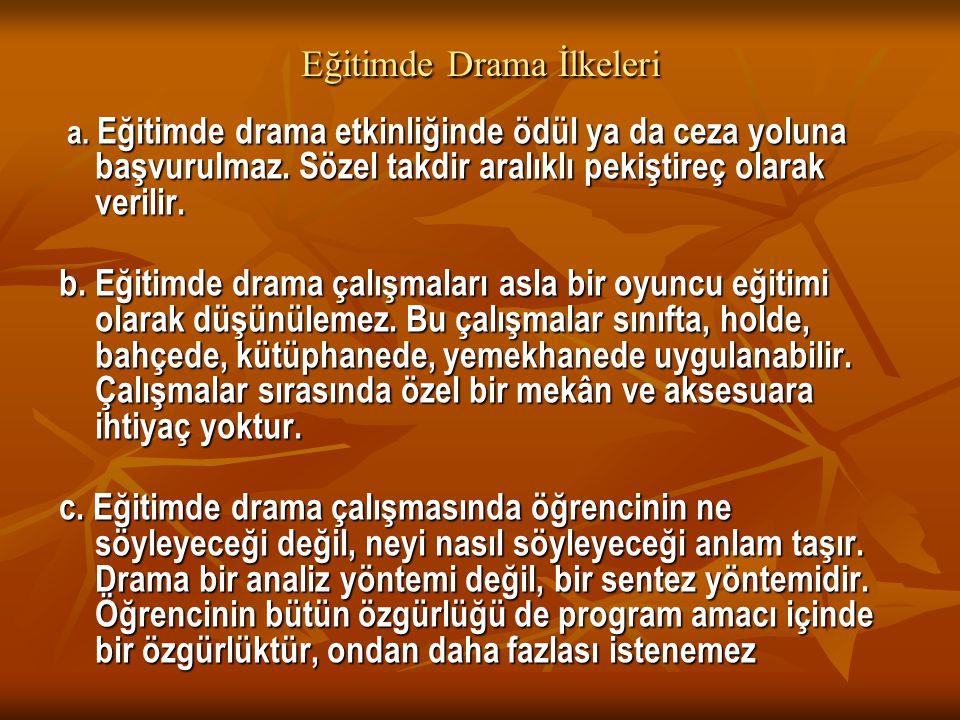 Eğitimde Drama İlkeleri a. Eğitimde drama etkinliğinde ödül ya da ceza yoluna başvurulmaz. Sözel takdir aralıklı pekiştireç olarak verilir. a. Eğitimd