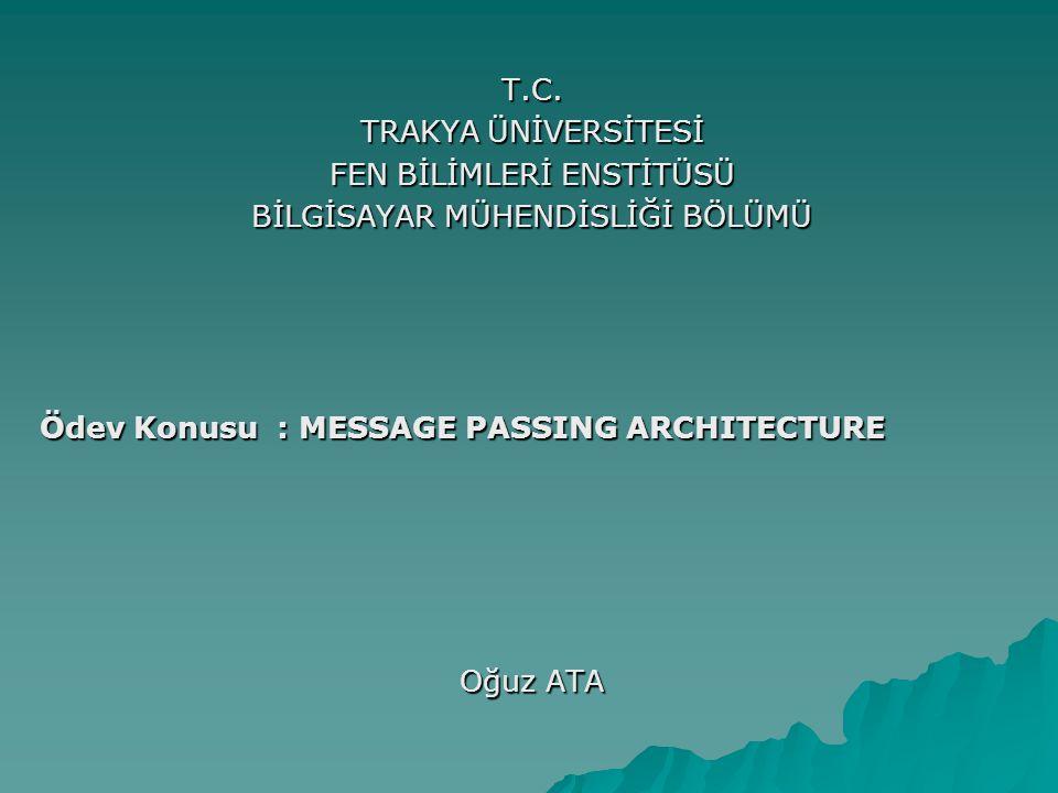 MESSAGE PASSING ARCHITECTURE (Mesaj Geçiş Mimarisi)  Mesaj geçiş mimarisi, iletişim ve çokluişlemci ile veri arasındaki hareket için alternatif metodlar sağlar.(Paylaşımlı hafızaya sahip çokluişlemcilerden farklı olarak) Bu araştırmada, sizlere Neslihan ve Özlem ile birlikte farklı yönleriyle mesaj geçiş sistemlerinin  mesaj yönlendirme(message routing) ,  network anahtarlama(network switching) ,  işlemcilerin mesaj geçiş desteği gibi konularını anlatılmaya çalışılacağız.