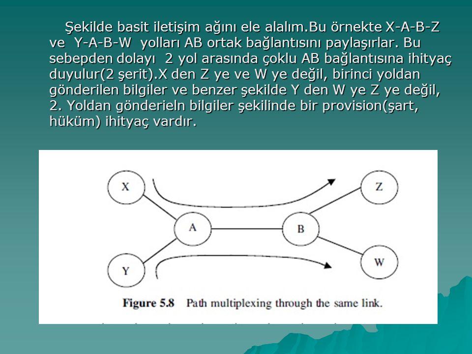 Şekilde basit iletişim ağını ele alalım.Bu örnekte X-A-B-Z ve Y-A-B-W yolları AB ortak bağlantısını paylaşırlar.