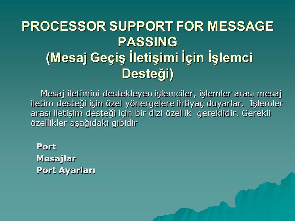 PROCESSOR SUPPORT FOR MESSAGE PASSING (Mesaj Geçiş İletişimi İçin İşlemci Desteği) Mesaj iletimini destekleyen işlemciler, işlemler arası mesaj iletim desteği için özel yönergelere ihtiyaç duyarlar.