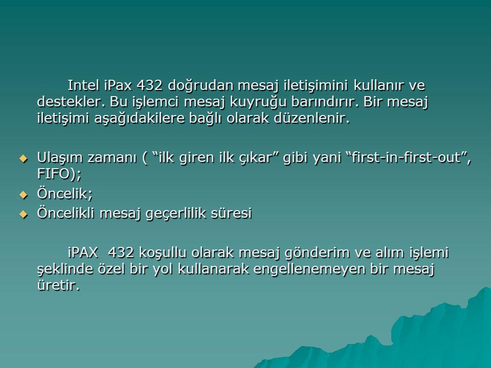 Intel iPax 432 doğrudan mesaj iletişimini kullanır ve destekler.