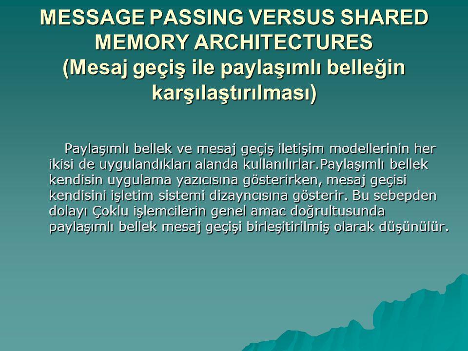 MESSAGE PASSING VERSUS SHARED MEMORY ARCHITECTURES (Mesaj geçiş ile paylaşımlı belleğin karşılaştırılması) Paylaşımlı bellek ve mesaj geçiş iletişim modellerinin her ikisi de uygulandıkları alanda kullanılırlar.Paylaşımlı bellek kendisin uygulama yazıcısına gösterirken, mesaj geçisi kendisini işletim sistemi dizayncısına gösterir.
