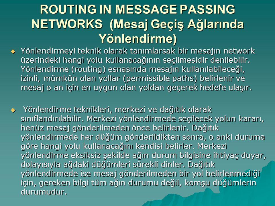 ROUTING IN MESSAGE PASSING NETWORKS (Mesaj Geçiş Ağlarında Yönlendirme)  Yönlendirmeyi teknik olarak tanımlarsak bir mesajın network üzerindeki hangi yolu kullanacağının seçilmesidir denilebilir.