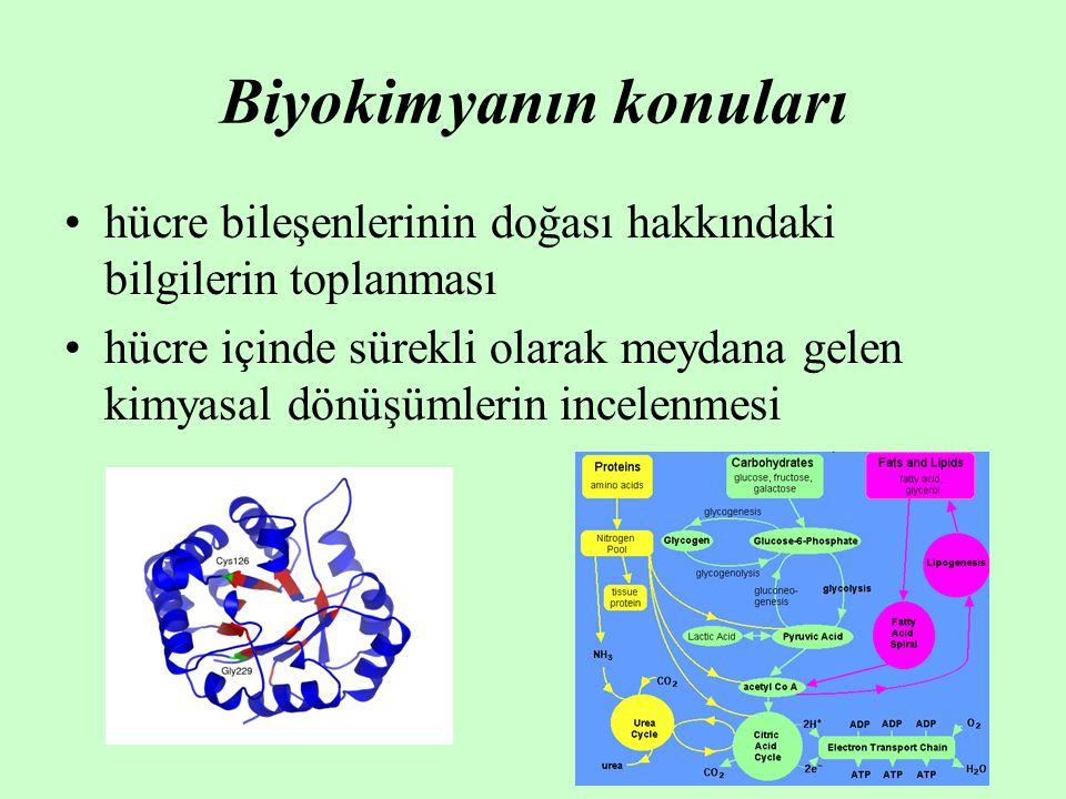 Biyokimyanın konuları hücre bileşenlerinin doğası hakkındaki bilgilerin toplanması hücre içinde sürekli olarak meydana gelen kimyasal dönüşümlerin incelenmesi