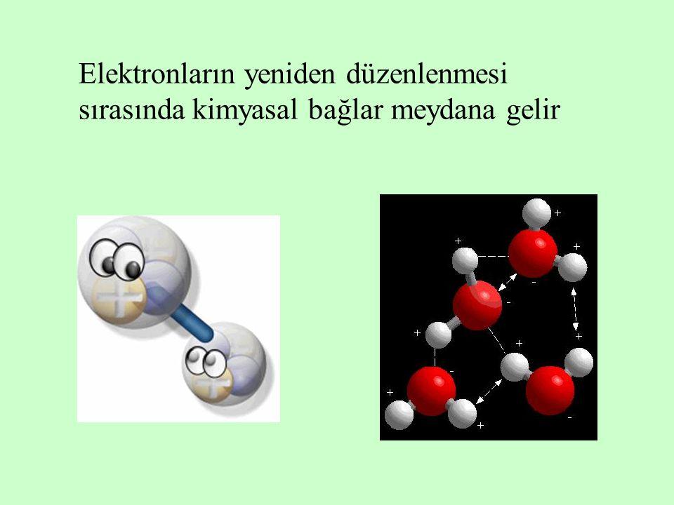 Elektronların yeniden düzenlenmesi sırasında kimyasal bağlar meydana gelir