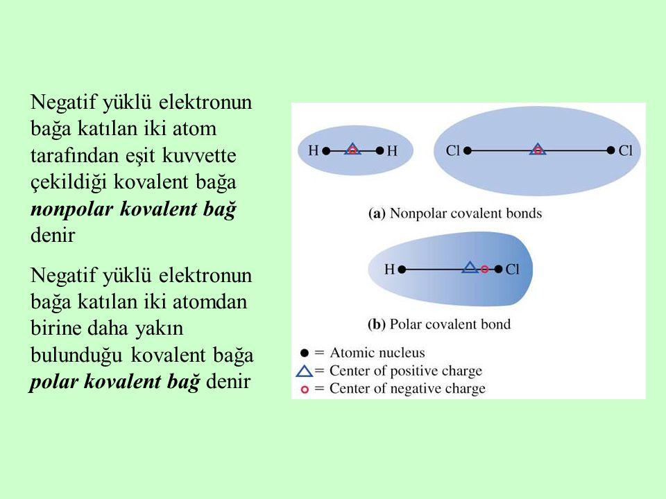 Negatif yüklü elektronun bağa katılan iki atom tarafından eşit kuvvette çekildiği kovalent bağa nonpolar kovalent bağ denir Negatif yüklü elektronun bağa katılan iki atomdan birine daha yakın bulunduğu kovalent bağa polar kovalent bağ denir