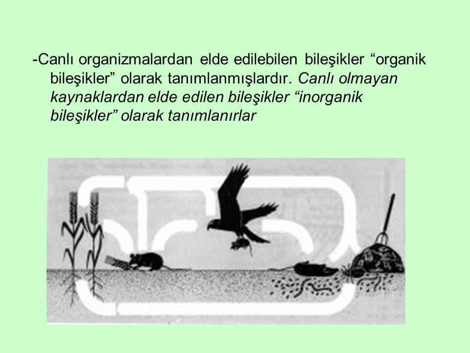 -Canlı organizmalardan elde edilebilen bileşikler organik bileşikler olarak tanımlanmışlardır.