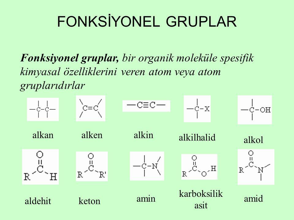 FONKSİYONEL GRUPLAR Fonksiyonel gruplar, bir organik moleküle spesifik kimyasal özelliklerini veren atom veya atom gruplarıdırlar alkanalkenalkin alkilhalid alkol aldehitketon amin karboksilik asit amid