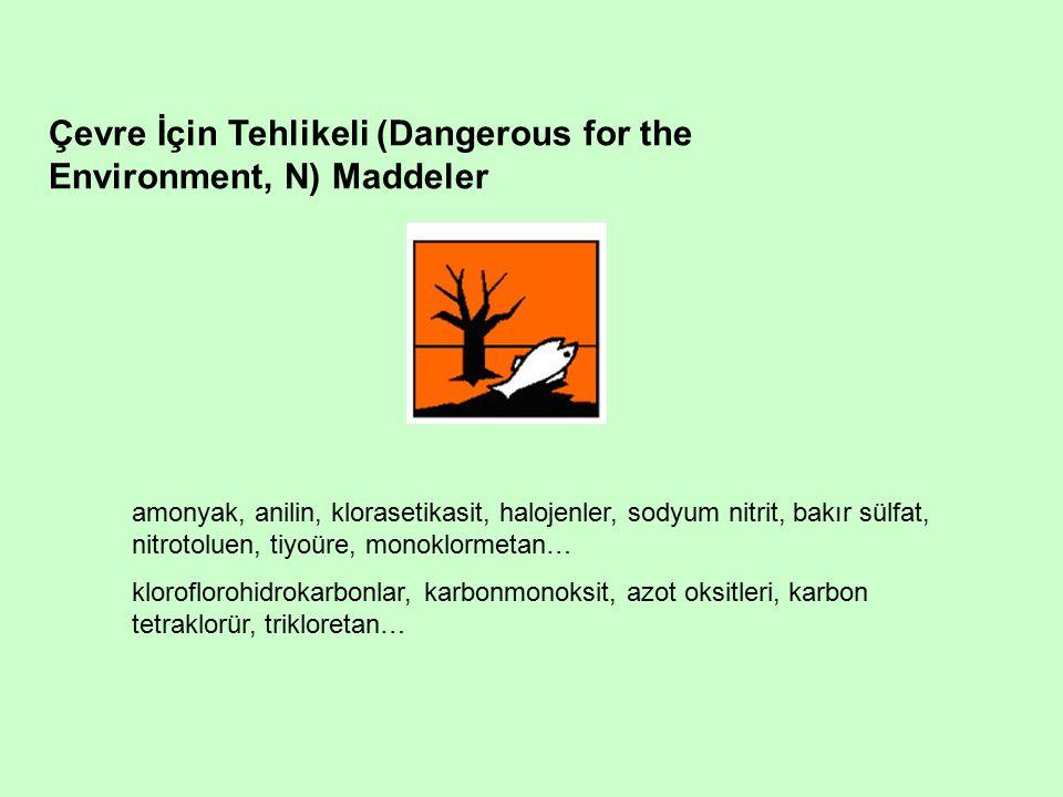Çevre İçin Tehlikeli (Dangerous for the Environment, N) Maddeler amonyak, anilin, klorasetikasit, halojenler, sodyum nitrit, bakır sülfat, nitrotoluen, tiyoüre, monoklormetan… kloroflorohidrokarbonlar, karbonmonoksit, azot oksitleri, karbon tetraklorür, trikloretan…