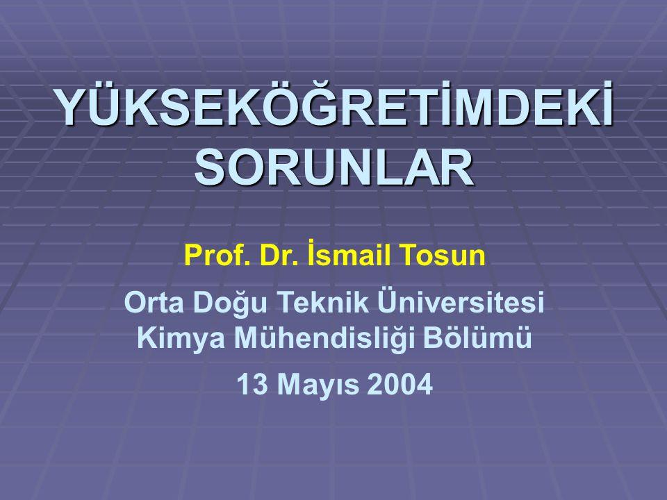 YÜKSEKÖĞRETİMDEKİ SORUNLAR Prof. Dr.