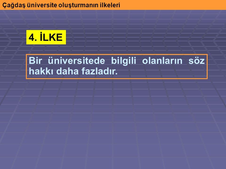 Çağdaş üniversite oluşturmanın ilkeleri Bir üniversitede bilgili olanların söz hakkı daha fazladır.