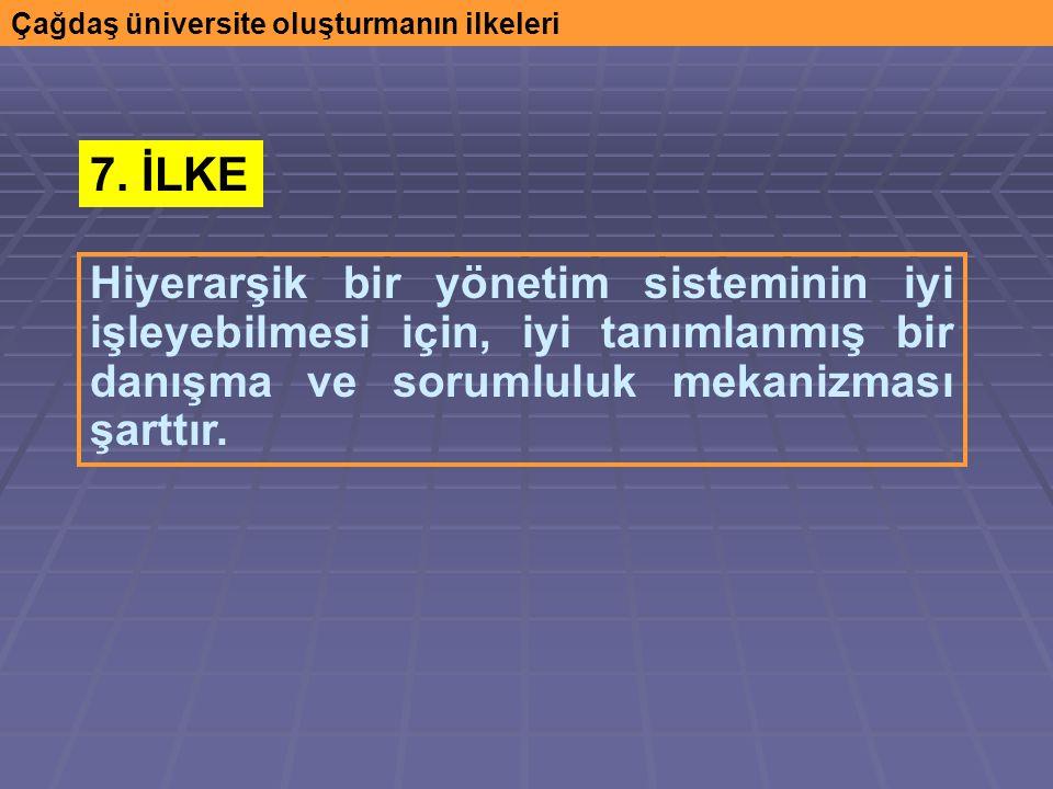 Çağdaş üniversite oluşturmanın ilkeleri Hiyerarşik bir yönetim sisteminin iyi işleyebilmesi için, iyi tanımlanmış bir danışma ve sorumluluk mekanizması şarttır.