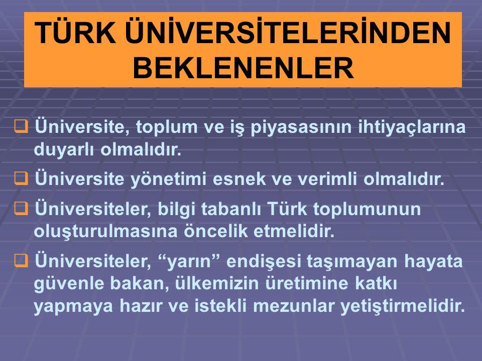 TÜRK ÜNİVERSİTELERİNDEN BEKLENENLER  Üniversite, toplum ve iş piyasasının ihtiyaçlarına duyarlı olmalıdır.