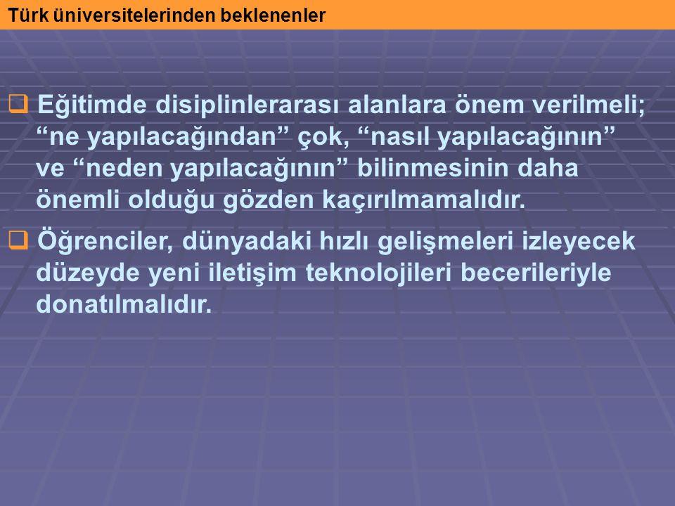 Türk üniversitelerinden beklenenler  Eğitimde disiplinlerarası alanlara önem verilmeli; ne yapılacağından çok, nasıl yapılacağının ve neden yapılacağının bilinmesinin daha önemli olduğu gözden kaçırılmamalıdır.