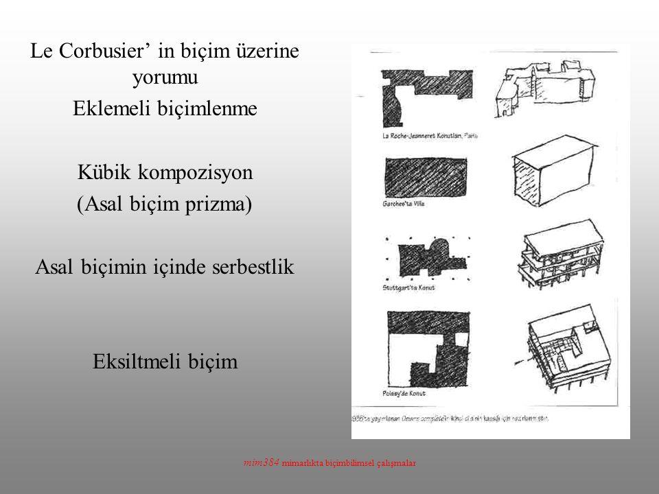 mim384 mimarlıkta biçimbilimsel çalışmalar Le Corbusier' in biçim üzerine yorumu Eklemeli biçimlenme Kübik kompozisyon (Asal biçim prizma) Asal biçimin içinde serbestlik Eksiltmeli biçim