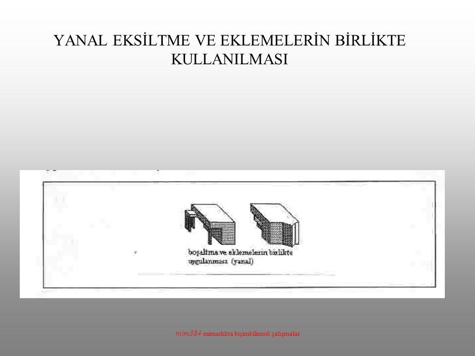 mim384 mimarlıkta biçimbilimsel çalışmalar YANAL EKSİLTME VE EKLEMELERİN BİRLİKTE KULLANILMASI