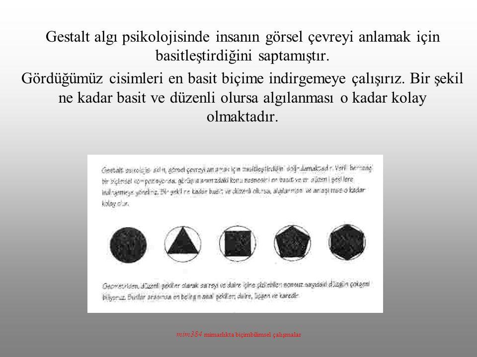 mim384 mimarlıkta biçimbilimsel çalışmalar Gestalt algı psikolojisinde insanın görsel çevreyi anlamak için basitleştirdiğini saptamıştır.