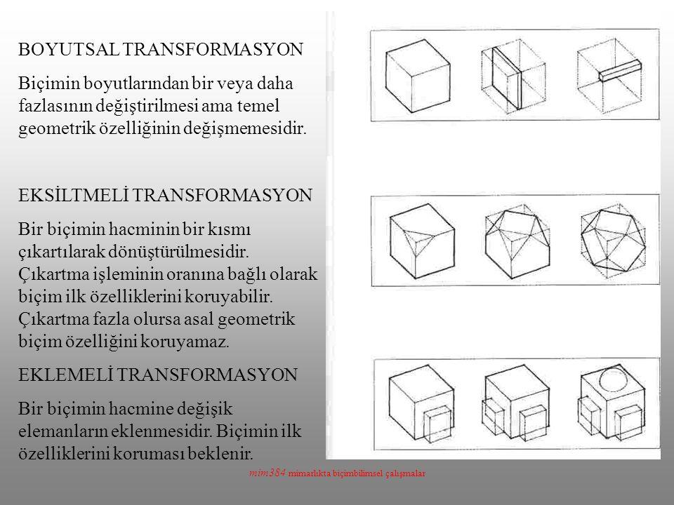 mim384 mimarlıkta biçimbilimsel çalışmalar BOYUTSAL TRANSFORMASYON Biçimin boyutlarından bir veya daha fazlasının değiştirilmesi ama temel geometrik özelliğinin değişmemesidir.