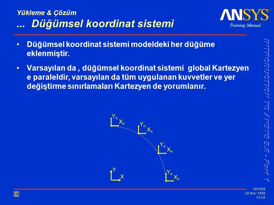 Training Manual 001289 30 Nov 1999 13-10 Yükleme & Çözüm... Düğümsel koordinat sistemi Düğümsel koordinat sistemi modeldeki her düğüme eklenmiştir. Va