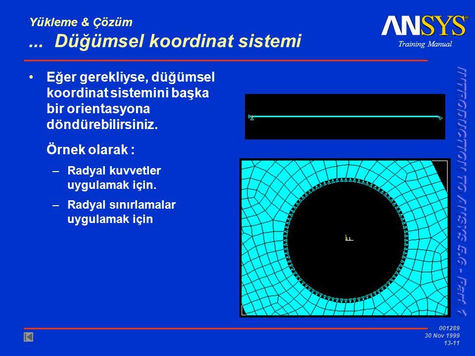 Training Manual 001289 30 Nov 1999 13-11 Yükleme & Çözüm... Düğümsel koordinat sistemi Eğer gerekliyse, düğümsel koordinat sistemini başka bir orienta