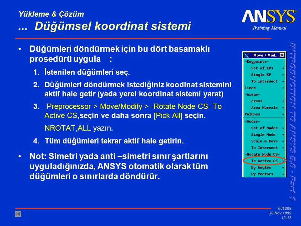 Training Manual 001289 30 Nov 1999 13-12 Yükleme & Çözüm... Düğümsel koordinat sistemi Düğümleri döndürmek için bu dört basamaklı prosedürü uygula : 1