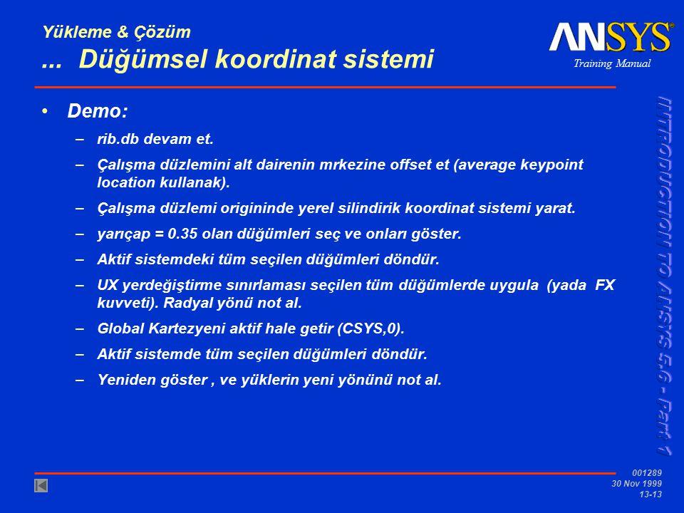 Training Manual 001289 30 Nov 1999 13-13 Yükleme & Çözüm... Düğümsel koordinat sistemi Demo: –rib.db devam et. –Çalışma düzlemini alt dairenin mrkezin