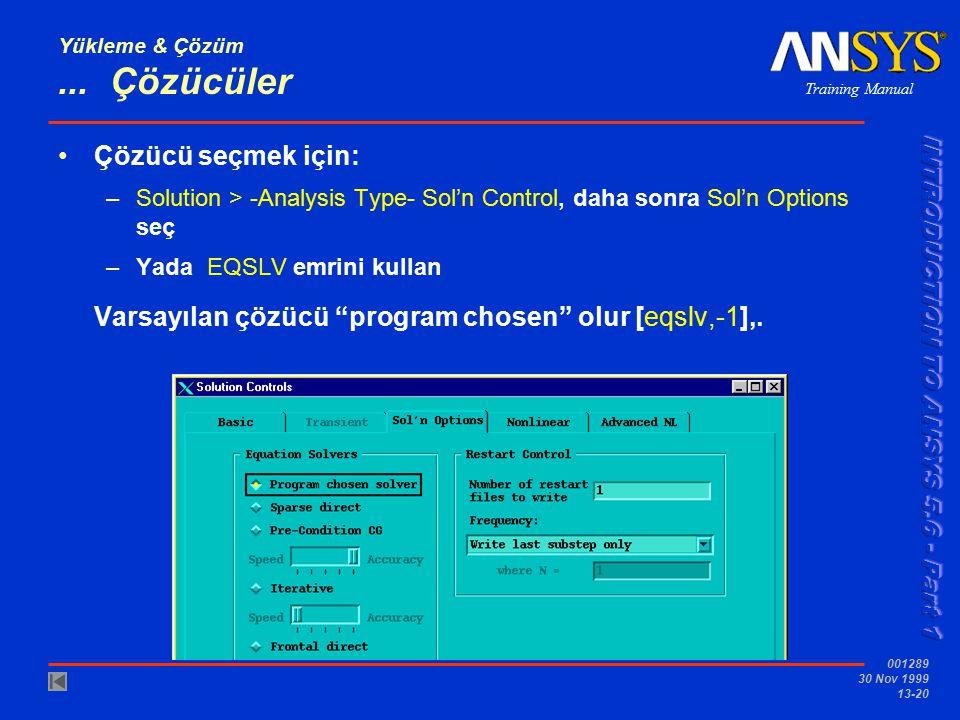 Training Manual 001289 30 Nov 1999 13-20 Yükleme & Çözüm... Çözücüler Çözücü seçmek için: –Solution > -Analysis Type- Sol'n Control, daha sonra Sol'n