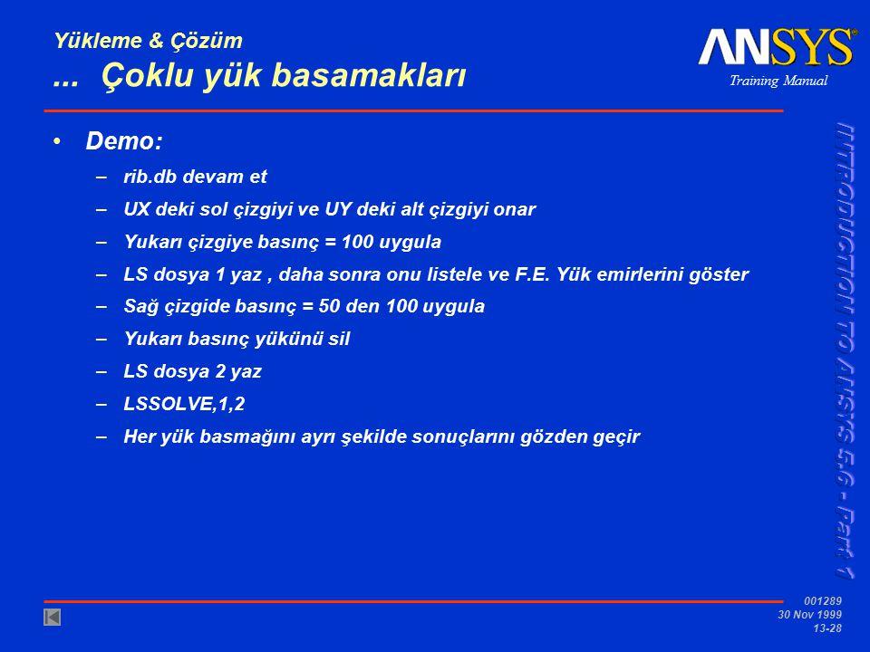 Training Manual 001289 30 Nov 1999 13-28 Yükleme & Çözüm... Çoklu yük basamakları Demo: –rib.db devam et –UX deki sol çizgiyi ve UY deki alt çizgiyi o