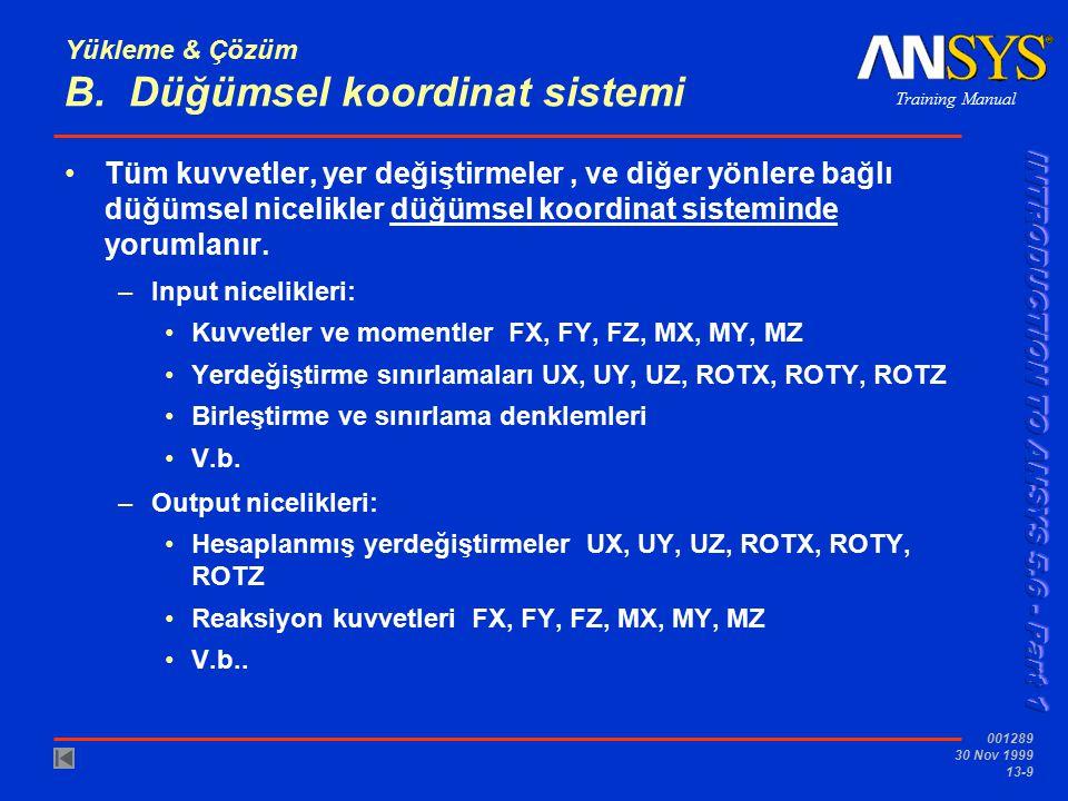 Training Manual 001289 30 Nov 1999 13-9 Yükleme & Çözüm B. Düğümsel koordinat sistemi Tüm kuvvetler, yer değiştirmeler, ve diğer yönlere bağlı düğümse