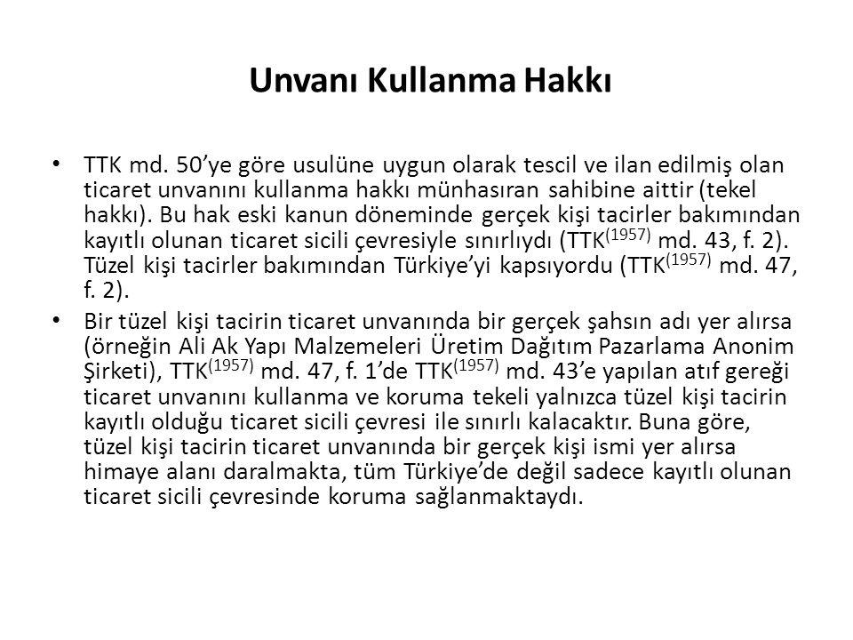 Unvanı Kullanma Hakkı TTK md.