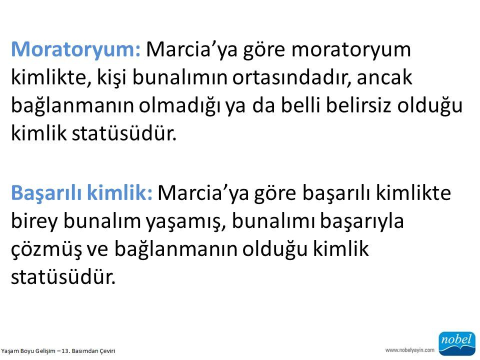 Moratoryum: Marcia'ya göre moratoryum kimlikte, kişi bunalımın ortasındadır, ancak bağlanmanın olmadığı ya da belli belirsiz olduğu kimlik statüsüdür.