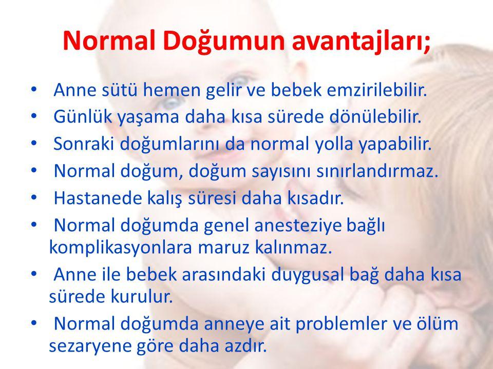 Normal Doğumun avantajları; Anne sütü hemen gelir ve bebek emzirilebilir. Günlük yaşama daha kısa sürede dönülebilir. Sonraki doğumlarını da normal yo
