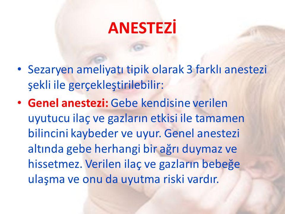 ANESTEZİ Sezaryen ameliyatı tipik olarak 3 farklı anestezi şekli ile gerçekleştirilebilir: Genel anestezi: Gebe kendisine verilen uyutucu ilaç ve gazl