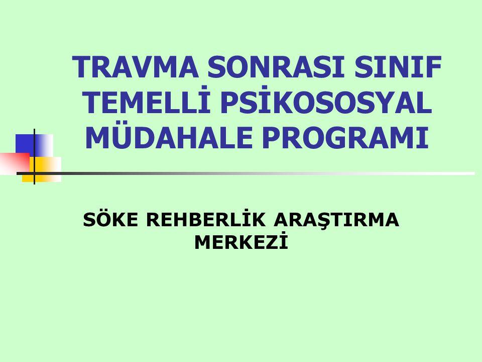 Bu çalışmamızın amacı ve kapsamı Van depreminden sonra Van ilinden Aydın iline gelen 0-18 yaş arası travmaya maruz kalmış öğrencilere travma sonrası müdahale programını uygulamak.
