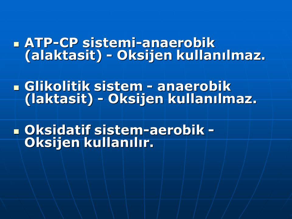 ATP-CP sistemi-anaerobik (alaktasit) - Oksijen kullanılmaz. ATP-CP sistemi-anaerobik (alaktasit) - Oksijen kullanılmaz. Glikolitik sistem - anaerobik