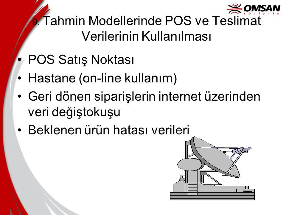 9. Tahmin Modellerinde POS ve Teslimat Verilerinin Kullanılması POS Satış Noktası Hastane (on-line kullanım) Geri dönen siparişlerin internet üzerinde