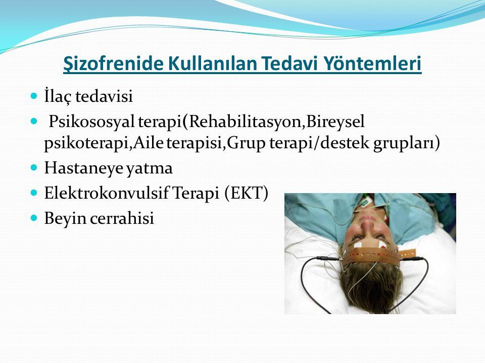 Şizofrenide Kullanılan Tedavi Yöntemleri İlaç tedavisi Psikososyal terapi(Rehabilitasyon,Bireysel psikoterapi,Aile terapisi,Grup terapi/destek gruplar