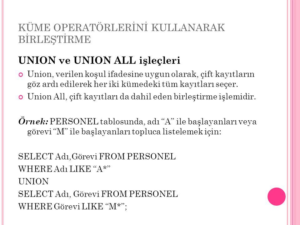 KÜME OPERATÖRLERİNİ KULLANARAK BİRLEŞTİRME UNION ve UNION ALL işleçleri Union, verilen koşul ifadesine uygun olarak, çift kayıtların göz ardı edilerek