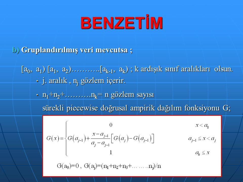 BENZETİM b) Gruplandırılmış veri mevcutsa ; [a 0, a 1 ) [a 1, a 2 )………..[a k-1, a k ) ; k ardışık sınıf aralıkları olsun. j. aralık, n j gözlem içerir