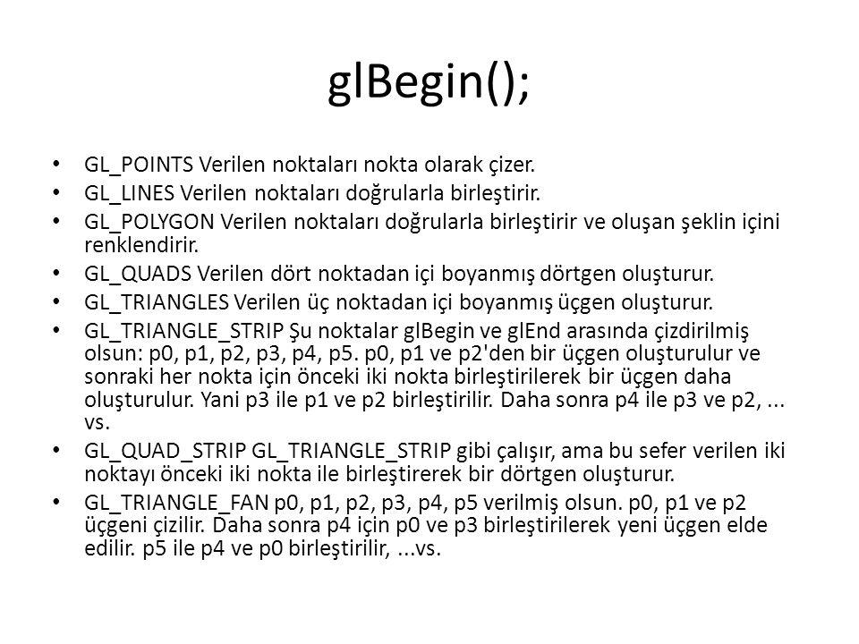 glBegin(); GL_POINTS Verilen noktaları nokta olarak çizer.