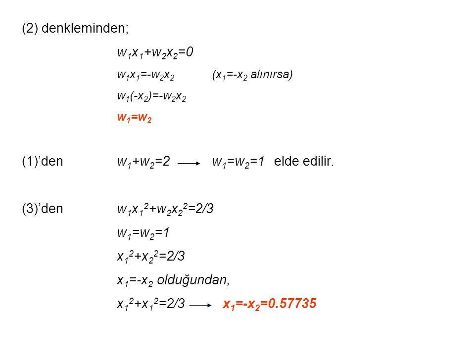 (2) denkleminden; w 1 x 1 +w 2 x 2 =0 w 1 x 1 =-w 2 x 2 (x 1 =-x 2 alınırsa) w 1 (-x 2 )=-w 2 x 2 w 1 =w 2 (1)'den w 1 +w 2 =2 w 1 =w 2 =1 elde edilir.