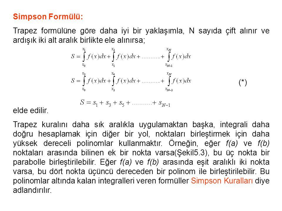 Simpson Formülü: Trapez formülüne göre daha iyi bir yaklaşımla, N sayıda çift alınır ve ardışık iki alt aralık birlikte ele alınırsa; (*) elde edilir.