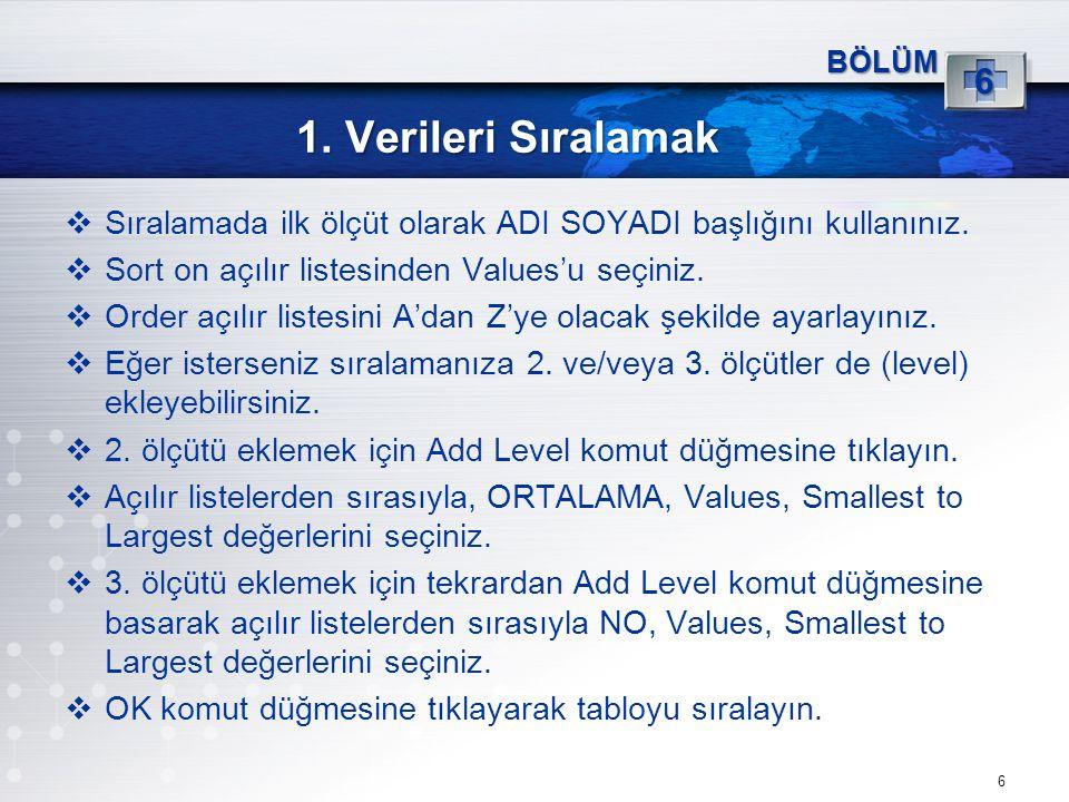 1. Verileri Sıralamak 6 BÖLÜM 6  Sıralamada ilk ölçüt olarak ADI SOYADI başlığını kullanınız.  Sort on açılır listesinden Values'u seçiniz.  Order