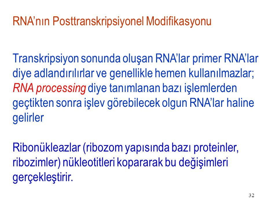 32 RNA'nın Posttranskripsiyonel Modifikasyonu Transkripsiyon sonunda oluşan RNA'lar primer RNA'lar diye adlandırılırlar ve genellikle hemen kullanılmazlar; RNA processing diye tanımlanan bazı işlemlerden geçtikten sonra işlev görebilecek olgun RNA'lar haline gelirler Ribonükleazlar (ribozom yapısında bazı proteinler, ribozimler) nükleotitleri kopararak bu değişimleri gerçekleştirir.