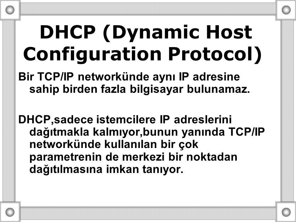 DHCP (Dynamic Host Configuration Protocol) Bir TCP/IP networkünde aynı IP adresine sahip birden fazla bilgisayar bulunamaz. DHCP,sadece istemcilere IP