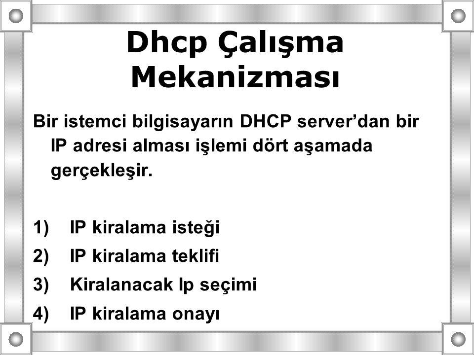Dhcp Çalışma Mekanizması Bir istemci bilgisayarın DHCP server'dan bir IP adresi alması işlemi dört aşamada gerçekleşir. 1) IP kiralama isteği 2) IP ki