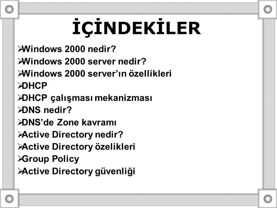 İÇİNDEKİLER  Windows 2000 nedir?  Windows 2000 server nedir?  Windows 2000 server'ın özellikleri  DHCP  DHCP çalışması mekanizması  DNS nedir? 