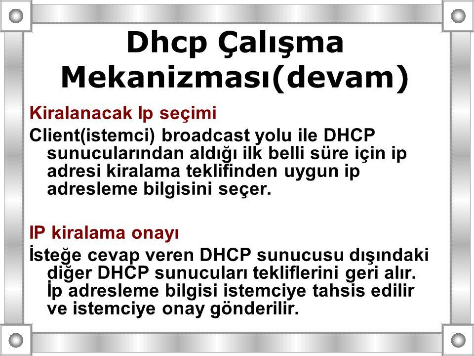 Kiralanacak Ip seçimi Client(istemci) broadcast yolu ile DHCP sunucularından aldığı ilk belli süre için ip adresi kiralama teklifinden uygun ip adresl