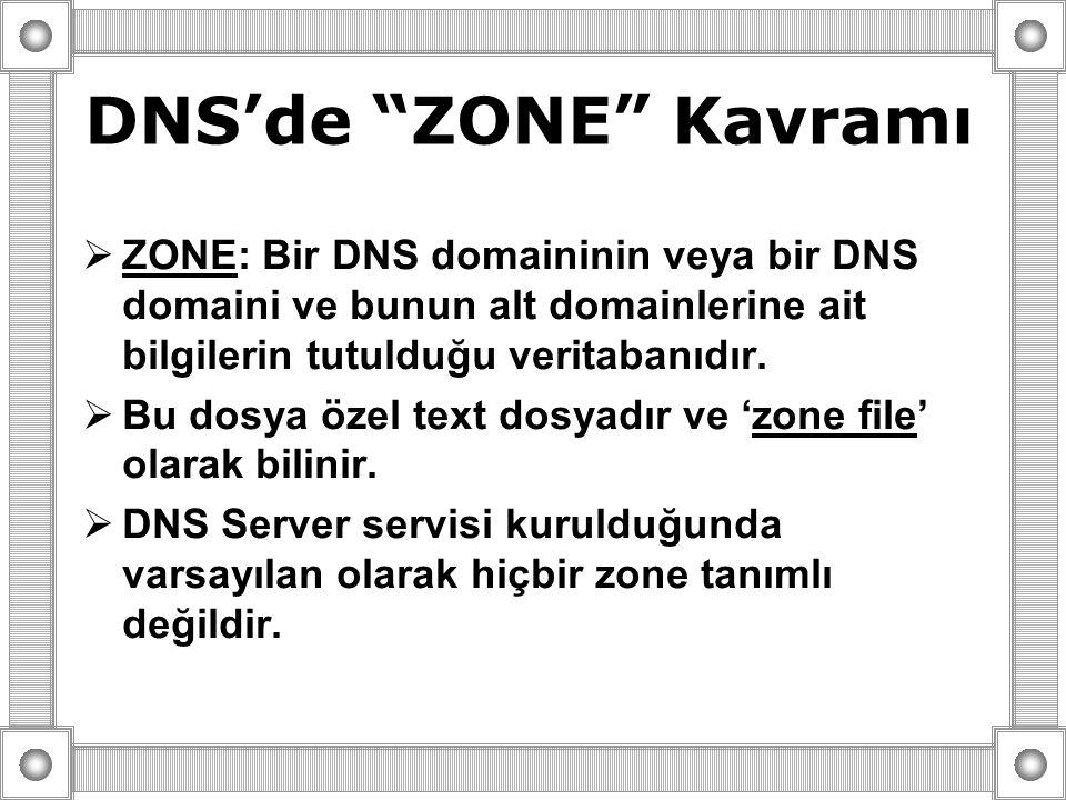 """DNS'de """"ZONE"""" Kavramı  ZONE: Bir DNS domaininin veya bir DNS domaini ve bunun alt domainlerine ait bilgilerin tutulduğu veritabanıdır.  Bu dosya öze"""