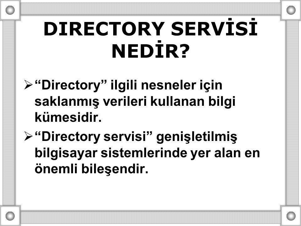 """DIRECTORY SERVİSİ NEDİR?  """"Directory"""" ilgili nesneler için saklanmış verileri kullanan bilgi kümesidir.  """"Directory servisi"""" genişletilmiş bilgisaya"""